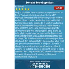 """We just purchased a home and had an inspection done by Ron of """"executive home..."""