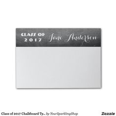 Class of 2017 Chalkboard Typography Black White Post-it® Notes #JustSold #ThankYou :)