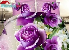 Vivid Purple Roses and White Blooming Flowers Printing 4-Piece Duvet Cover Sets #purplebedding #beddinginn #3dbedding