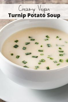 Naturally Creamy Potato Turnip Soup without any cream, half & half, or butter! You'll love this tasty, healthy, light soup for dinner or as a healthy lunch. Vegan, gluten-free, and oh so good. #soup #veganrecipes #healthyrecipes #healthyliving