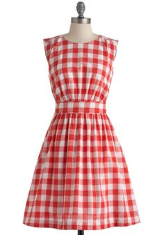 Too Much Fun Dress in Cookout Crimson by Emily and Fin - Mid-length, Red, White, Checkered / Gingham, Pockets, Party, Vintage Inspired, Sleeveless, Summer, Fit & Flare, International Designer, Top Rated, Cotton