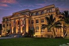 Historic 1916 Palm Beach County Courthouse (Old Palm Beach County Courthouse) in Downtown West Palm Beach, FL  Copyright Justin Kelefas 2014  See more at HDRcustoms.com  Taken a few weeks ago during twilight after sunset.