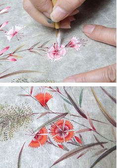 서민자 작가와 함께하는 초충도草蟲圖 그리기Ⅱ | 월간민화 Korean Painting, Chinese Painting, Egg Rock, Watercolor Illustration, Hand Painted, Drawings, Paper, Flowers, Watercolours