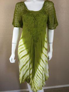 S.R. FASHIONS Green Tie Dye Dress Embroidered cotton rayon Free Size #sr