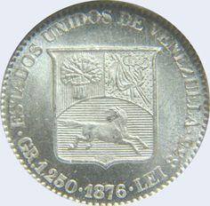 Pieza mv5cv-aa02v2 (Reverso). Moneda de Venezuela. 5 Centavos. Diseño A, Tipo A. Fecha 1876. Variante #2