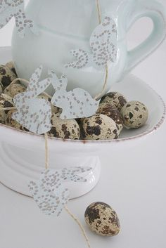 Bunny garland -- like the combo with the speckled eggs.