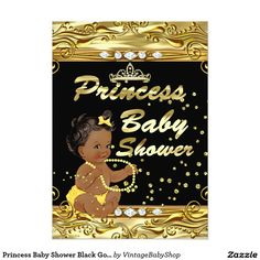 Princess Baby Shower Black Gold Sprinkle Ethnic 5x7 Paper Invitation Card
