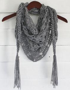 Crochet Triangle Scarf by TheMacheteShoppe on Etsy