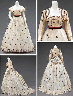 "Evening ensemble, Texier St. Engley, Paris, ca. 1875. Silk. Met: ""An air of coquettishness and youthful presence inform this set of French dress coordinates. The colorful and spritely decorative details lend a sense of whimsy. The choice of fabric and the inclusion of alternate bodices made this ensemble appropriate for both late day and evening wear."" Metropolitan Museum of Art"