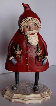 Sculpted Christmas Santa Elves BOY HOWDIE PAPIER MACHE FOLK ART by Dawn Tubbs