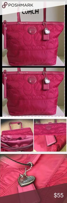 Coach Purse Good Condition, 2 interior pockets, bottom of bag is slightly discolored due to general use. Can't tell unless looking for it... Bag is light weight,  a Beautiful Pink color! Coach Bags Shoulder Bags