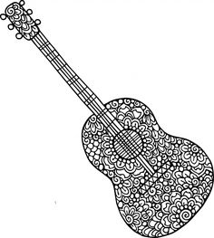 Does Your Kid Love Playing The Strings Of Guitar Are You Fascinated By Those Stringed Instruments Then This Doodle Coloring Page Is Just For