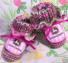 Image detail for -HAND MADE JOHN DEERE BABY GIRL PINK CAMO BOOTIES *0-12M - New and Used ...