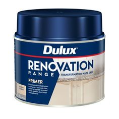 Dulux Renovation Range Primer is a revolutionary water-based primer that is the perfect preparation product to transform drawers, benchtops and cupboards in the kitchen, bathroom and laundry. Use it on ceramic and porcelain tiles, laminate, vinyl, PVC and other plastic-wrapped surfaces, to achieve maximum adhesion for Renovation Range topcoats. | Dulux 1L Renovation Range Primer Three Birds Renovations, Painted Doors, Paint Shop, Kitchen Flooring, The Hamptons, Make It Simple, How To Apply, Interior, Range