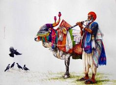 Artwork By Siva Balan. Indian Bull. India. Water colours.