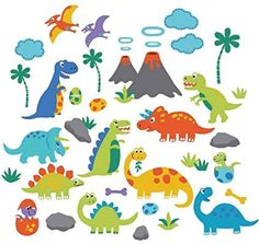 Shop for Dino Friends Peel & Stick Kids Room Wall Decal for Boys & Girls. Get free delivery On EVERYTHING* Overstock - Your Online Nursery Decor Shop! Kids Room Wall Decals, Kitchen Wall Stickers, Dinosaur Wall Stickers, Kids Stickers, Stick Wall Art, Nursery Decor, Wall Decor, Dinosaur Bedroom, Cartoon Dinosaur