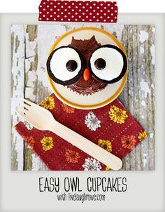 Owl Cupcakes Pinned by www.myowlbarn.com