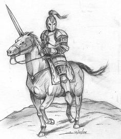 Knight In Shining Armor Drawing Images & Pictures Knight In Shining Armor, Knight Armor, Knight Drawing, Soldier Drawing, Knight On Horse, Medieval Drawings, Viking Logo, Horse Sketch, Comic Drawing