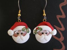 Polymer Clay Santa Pierced Dangle Earrings by by HelensClayArt