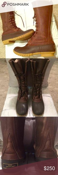 ❤️RARE LL Bean Boots L.L.DUCK TALL 8-9 LEATHER 8.5 ❤️BEAUTIFUL GORGEOUS CHOCOLATE L.L. BEAN BOOTS!  ❤️VERY RARE!!  NO LONGER AVAILABLE!! WOMENS 8(fits 8-9) AUTHENTIC & GENUINE BEAN BOOTS!!  ❤️GENUINE LEATHER  RAIN & SNOW RESISTANT HIGH QUALITY FROM MAINE  ❤️SLIMMING  SOFT COMFORTABLE LEATHER THAT FITS ANY SIZE CALVE & MOLDS PERFECTLY FOR COMFORT & STYLE  ❤️VERY VERSATILE  BEAUTIFUL NATURALLY DISTRESSED  Some marks,wear.see pics Fits Women's 8-9.Tagged 6N,fits men's 6-7  Winter…