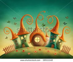 Fantasy houses in the meadow - stock photo