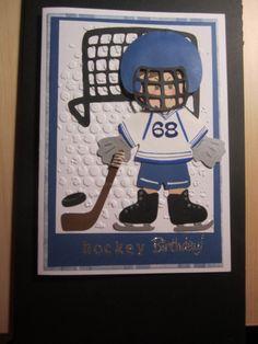 Boy's Birthday Card - Hockey Birthday - inspiration found on the web.    Using Everyday Paper Dolls