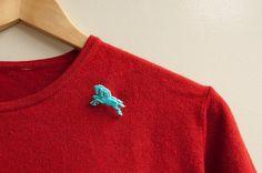 Horse Brooch Blue Vintage Horses Pin