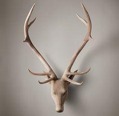 Hand-Carved Wood Noble Stag Head | Carved Horns & Antlers | Restoration Hardware