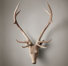 Hand-Carved Wood Noble Stag Head