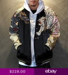 Japanese Embroidery Jacket Dragon Tiger Beasts Outwear Zipper Coat Mens punk new Japanese Streetwear, Japanese Embroidery, Custom Clothes, Street Wear, Bomber Jacket, Dragon, Menswear, Street Style, Mens Fashion