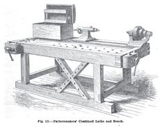 A patternmaker's workbench is one of the coolest benches you'll find, almost always customized and usually outfitted with an Emmert vise. Woodworking Tool Kit, Woodworking Bench Vise, Woodworking Furniture Plans, Woodworking Magazine, Woodworking Workbench, Woodworking Workshop, Popular Woodworking, Woodworking Equipment, Woodworking Videos