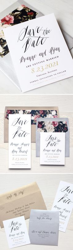 Simple & Chic Calligraphy Inspired Save The Date With Floral Envelope Liner & Metallic Envelopes