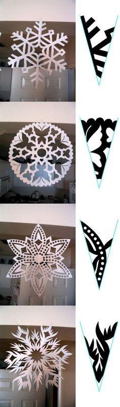 Sněhové vločky, které nikdy neroztají – Let´s Create Paper Snowflake Patterns, Snowflake Template, Paper Snowflakes, Christmas Snowflakes, Christmas Fun, Christmas Decorations, Christmas Ornaments, Diy Paper, Paper Crafts