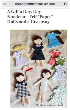 Felt paper dolls.  Felt backing on dresses will stick to dolls. http://theprudenthomemaker.com/blog/entry/a-gift-a-day-day-nineteen-felt-paper-dolls-and-a-giveaway