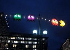Awesome Pac-Man String Light Installation by Benedetto Bufalino and Benoit Deseille  for the Festival of Trees and Lights in Geneva, Switzerland.
