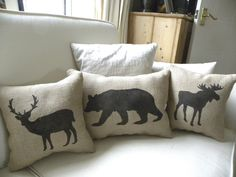 Burlap Moose pillow Cushion Christmas winter or boys room - Etsy Front Page item. $22,00, via Etsy.