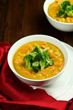 Sweet Potato White Bean & Curry Soup with Roasted Broccoli recipe (oil-free)