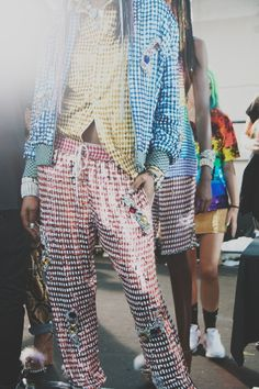 Sequin gingham backstage at Ashish SS15 LFW. More images here: http://www.dazeddigital.com/fashion/article/21749/1/ashish-ss15