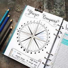 Beautiful #sleeptracker from @seras.bullet.journal #Repost @seras.bullet.journal ・・・ I went for a circular sleep tracker again, which is supposed to look like a compass! I love to track total hours of sleep as well as sleep quality, which I do by using di