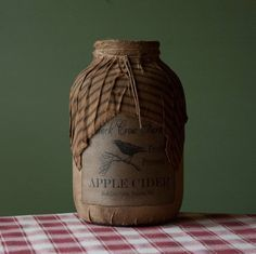 Primitive Country Gallon Size Fabric Covered Jar - Apple Cider w Crow Tan Primitive Mason Jars, Rustic Primitive Decor, Prim Decor, Primitive Crafts, Primitive Christmas, Country Primitive, Country Decor, Mason Jar Crafts, Bottle Crafts