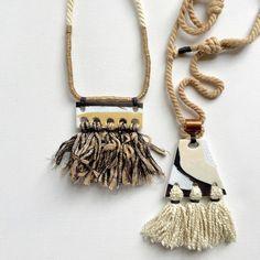 Polymer clay pendant with tassels by Kelaoke on Etsy