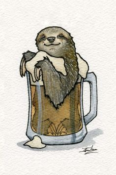 Sleepy Sloth Cask Ale. Drawings of Surreal Drinking Visions of Animals. By Jon Guerdrum.