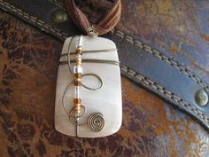 Wire Wrapped Sea Shell Pendant with Ribbon SEA COLLECTION 003