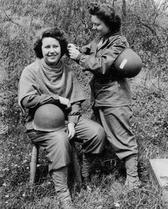 Army nurses doing their hair during WWII