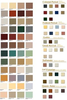 HistoricColorPalette.jpg (2119×3160) Fayetteville, NY. Periods: Colonial, Federal, Gothic, Greek Revival, Italianate, Late Victorian, Queen Anne: