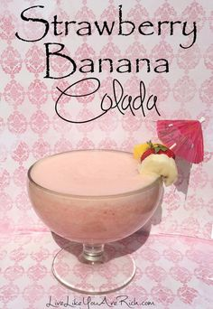 Strawberry Banana Colada Recipe-great for dessert! If you like piña coladas. And getting caught in the rain. Party Drinks, Cocktail Drinks, Fun Drinks, Beverages, Alcoholic Drinks 2 Ingredients, Non Alcoholic Drinks, Smoothie Drinks, Smoothie Recipes, Banana Colada