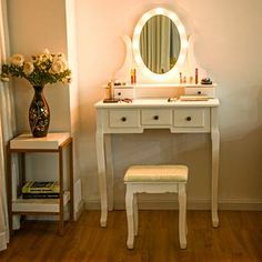 Makeup Vanity Table With Lights 101 - gymax 5 drawers vanity makeup dressing table stool set lighted mirror led bulbs Makeup Table With Mirror, Makeup Vanity Set, Vanity Table Set, Vanity Set With Mirror, Oval Mirror, Makeup Tables, Vanity Ideas, Makeup Vanities, Black Dressing Tables