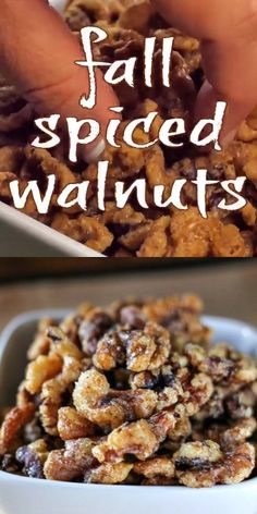 Spiced Walnuts Fall Spiced Walnuts are toasty and covered in a sweet and slightly spicy coating that will remind you of fall! Fall Spiced Walnuts are toasty and covered in a sweet and slightly spicy coating that will remind you of fall! Snack Mix Recipes, Fall Recipes, Holiday Recipes, Cooking Recipes, Dessert Recipes, Christmas Recipes, Christmas Nibbles, Snack Mixes, Holiday Snacks