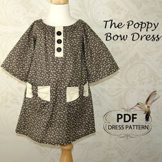 Peasant Bow Dress, Easy PDF sewing pattern and TUTORIAL, Girls Peasant Dress, Poppy Bow Dress, Childrens Kids Pattern. $6.95, via Etsy.
