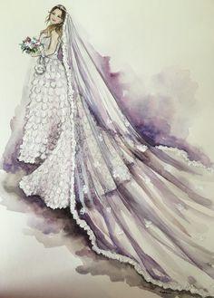 Bridal custom fashion illustration by loveillustration on Etsy